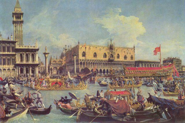 Návrat Bucintora do přístavu na svátek Nanebevstoupení, 1732