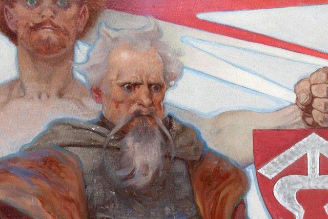 Reprodukce nástěnné malby v Obecním domě,  jež zobrazuje Jana Roháče z Dubé jako symbol nepoddajnosti českého národa | foto: Alfons Mucha,  Profimedia,  Vegap