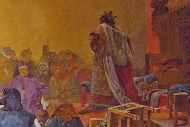 Jiří z Poděbrad na detailu obrazu Alfonse Muchy z cyklu Slovanská epopej | foto: Alfons Mucha,  Profimedia