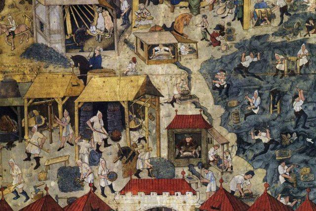 Těžba a úprava stříbrné rudy v Kutné Hoře. Knižní malba z 90. let 15. století