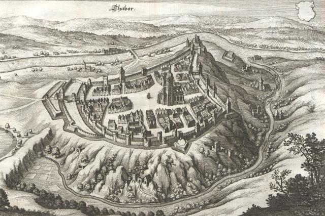 Město Tábor kolem roku 1650   foto: Matthäus Merian,  Wikimedia Commons,  CC0 1.0