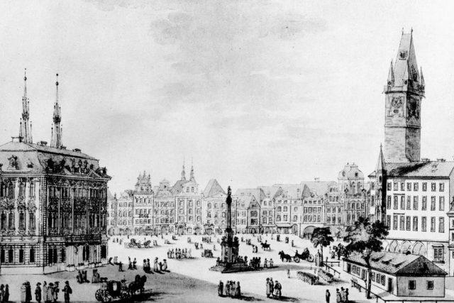 Staroměstské náměstí v Praze s Mariánským sloupem
