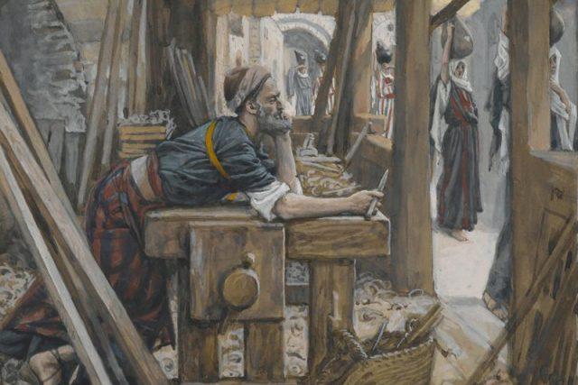 Svatý Josef, patron tesařů, v tesařské dílně