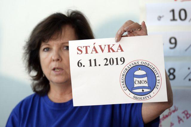 Místopředsedkyně Českomoravského odborového svazu pracovníků školství Markéta Seidlová na tiskové konferenci k vyhlášení stávky ve školách | foto: Kateřina Šulová,  ČTK