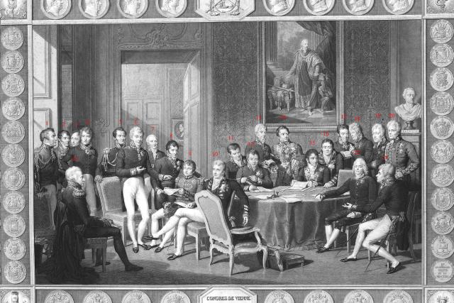 Delegáti Vídeňského kongresu na soudobé rytině   foto: Wikimedia Commons,  CC0 1.0