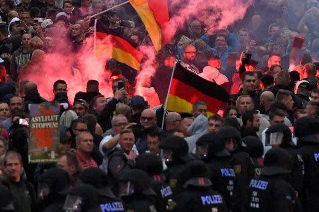 Protesty v saském městě Chemnitz