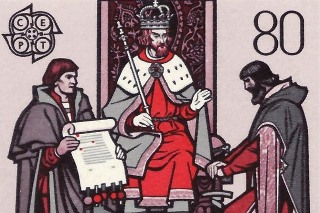 Motiv na známce znázorňující hraběte Hartmanna a Heinricha před králem Václavem