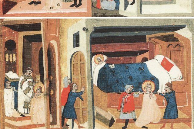 Nahoře: Drahomíra dává Tunnovi a Gomonovi koně a stříbro, aby zabili sv. Ludmilu. Tunna a Gomon před sv. Ludmilou a sv. Václavem. Dole: Zavraždění svaté Ludmily šálou