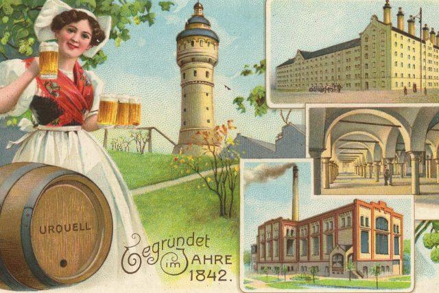 Pivovar v Plzni na dobové pohlednici