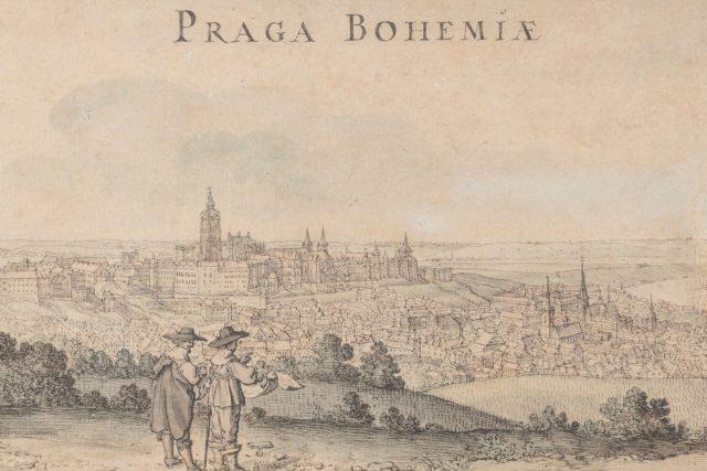 Václav Hollar,  pohled na Prahu ze svahu Petřína,  1636 | foto: Národní galerie Praha