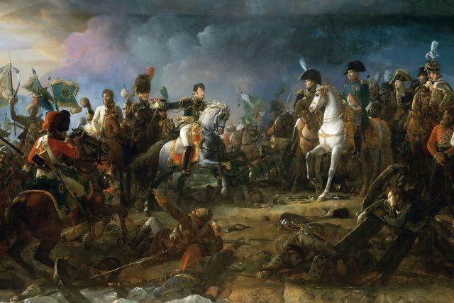 Bitva u Slavkova,  Vítězný návrat generála Rappa,  který Napoleonovi přiváží ukořistěné ruské prapory a zajatého knížete Repnina   foto: François Gérard,  Wikimedia Commons,  CC0 1.0