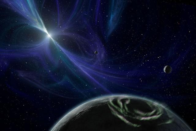 Umělcova představa planetarního systému pulsaru PSR 1257+12