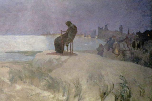 Detail obrazu Plamínek naděje z cyklu Slovanská epopej: Jan Amos Komenský sedí zhroucený v křesle na břehu moře v nizozemském Naardenu