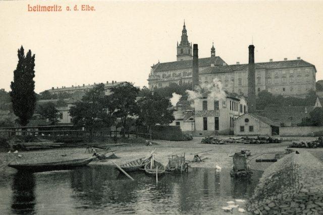 Pohled na Litoměřice (německy Leitmeritz) od Labe v roce 1911