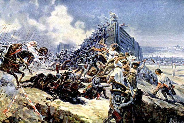 Adolf Liebscher: Bitva na vrchu Vítkově   foto: Adolf Liebscher,  Wikimedia Commons,  CC0 1.0