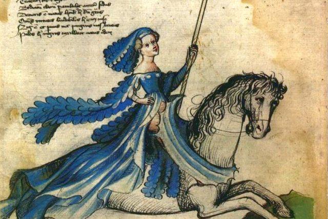 Barbora jako Venuše v Kyeserově spisu Bellifortis | foto: Konrad Kyeser,  Wikimedia Commons,  CC0 1.0