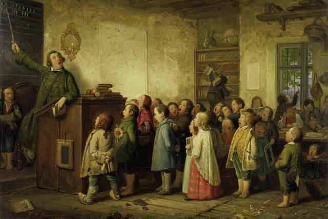 Učitel s dětmi v měšťance,  19. století | foto: Johann Peter Hasenclever,  Wikimedia Commons,  CC0 1.0