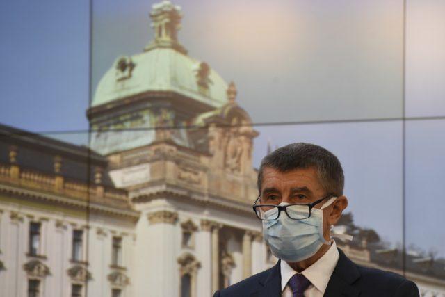 Premiér Andrej Babiš na úterní tiskové konferenci ke koronaviru