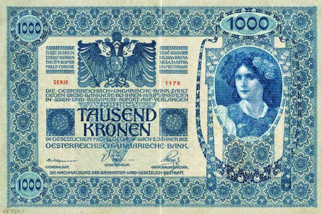 Tisícikoruna vydaná rakousko-uherskou bankou v roce 1902