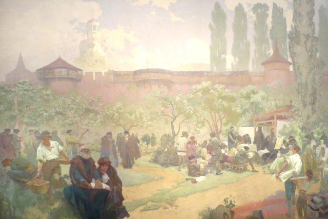 Bratrská škola v Ivančicích: Kolébka Bible kralické. Obraz z cyklu Slovanská epopej