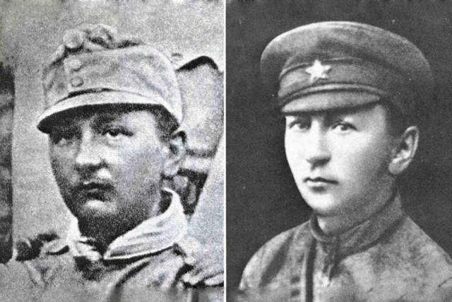 Jaroslav Hašek v rakouskouherské (vlevo) a rucké (vpravo) uniformě