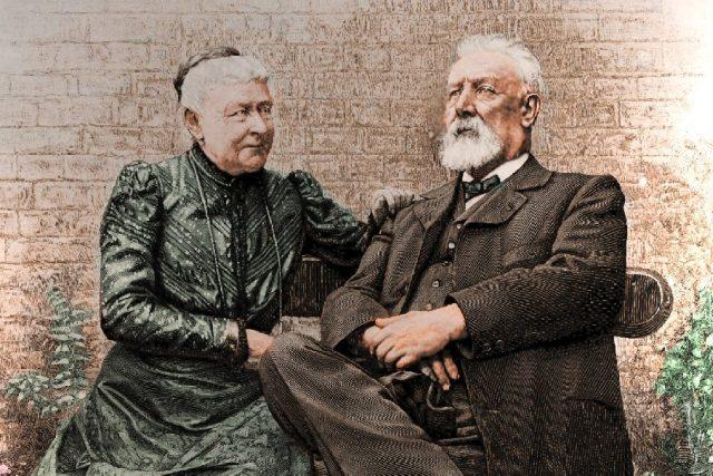 Jules Verne a Honorine Verneová v roce 1905