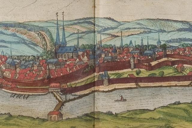 Cheb v roce 1572   foto: Frans Hogenberg,  Wikimedia Commons,  CC0 1.0