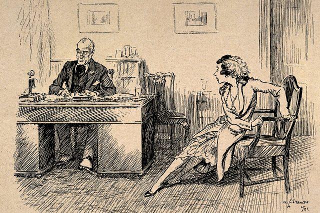 Doktor a pacientka (dobová kresba)