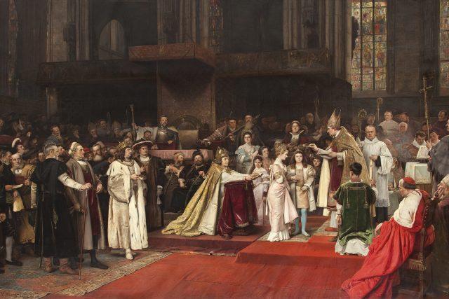Dvojitá svatba císaře Maximiliána I. s Annou a Marií Habsburskou s Ludvíkem II. | foto: Václav Brožík,  Wikimedia Commons,  CC0 1.0