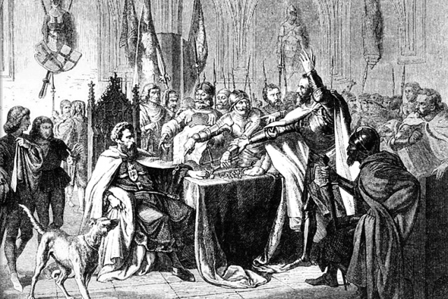 Prodej Marienburgu v roce 1457 králi Kazimírovi IV.   foto: Ludwig Rosenfelder,  Wikimedia Commons,  CC0 1.0
