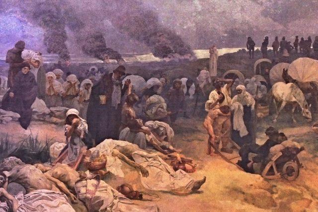 Alfons Mucha: Petr Chelčický (detail z obrazu z cyklu Slovanská epopej)