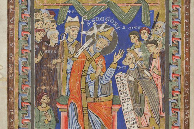Dedikační scéna z Olomouckého horologia – pod ozn. dux  (napravo od hlavy sv. Řehoře Velikého,  ústřední postavy obrazu) je vyobrazen buď Soběslav I. nebo Vladislav II. | foto: Wikimedia Commons