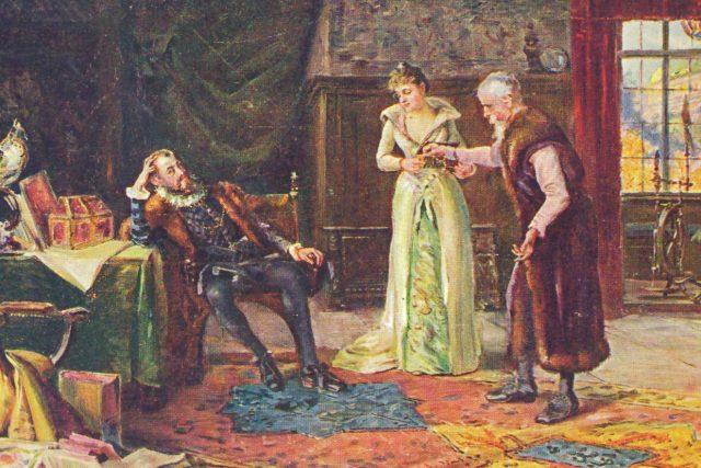 Císař Rudolf II. návštěvou u archiváře Strady