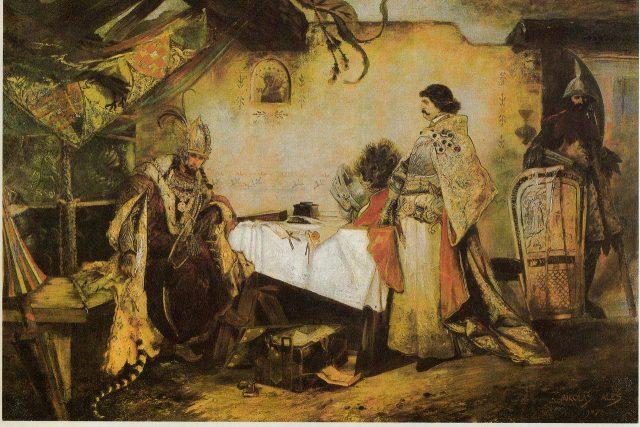 Setkání Jiřího z Poděbrad s Matyášem Korvínem | foto: Mikoláš Aleš,  Wikimedia Commons,  CC0 1.0