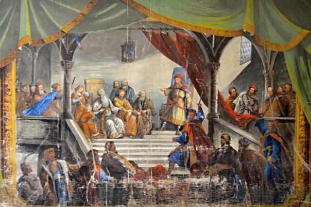Vršovci,  malovaná opona | foto: Archiv obce Vraclav
