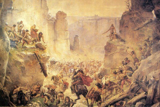 Pobití Sasíků pod Hrubou Skálou,  Rukopis královédvorský | foto: Mikoláš Aleš,  Wikimedia Commons,  CC0 1.0