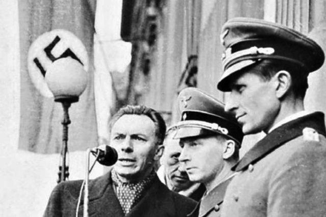 František Kocourek komentuje nacistickou vojenskou přehlídku na Václavském náměstí