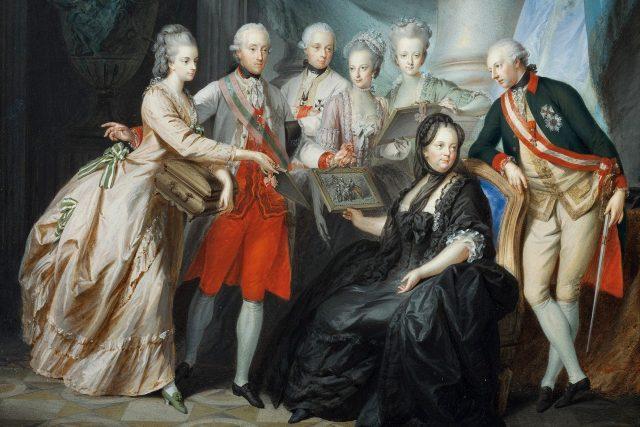 Heinrich Friedrich Füger: Marie Terezie s rodinou | foto: Heinrich Friedrich Füger,  Wikimedia Commons,  CC0 1.0