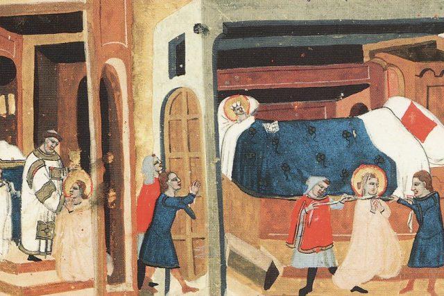 Tunna a Gomon vyrážejí dveře a škrtí svatou Ludmilu šálou. Pak andělé odnášejí její tělo na nebesa. Vyobrazení z latinského překladu Dalimilovy kroniky