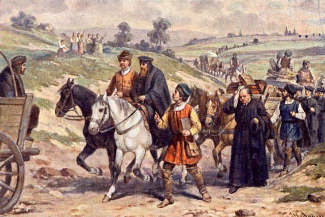 Jan Amos Komenský odvádí moravské bratry do poslkého exilu