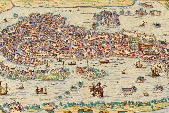 Mapa Benátek z roku 1572 | foto: Franz Hogenberg,  Wikimedia Commons,  CC BY-SA 3.0
