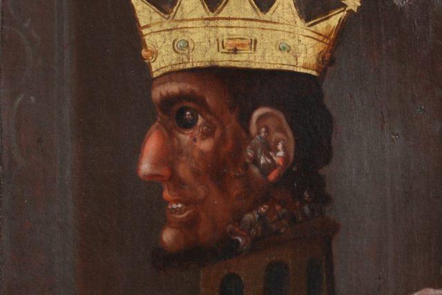 Václav IV. - imaginární hanlivá podobizna složená z výjevů legendy o sv. Janu Nepomuckém  (konkrétně jeho umučení a smrt).   foto: Národní muzeum