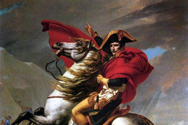 Napoleon Bonaparte při přechodu Alp   foto: Jacques-Louis David,  Wikimedia Commons,  CC0 1.0