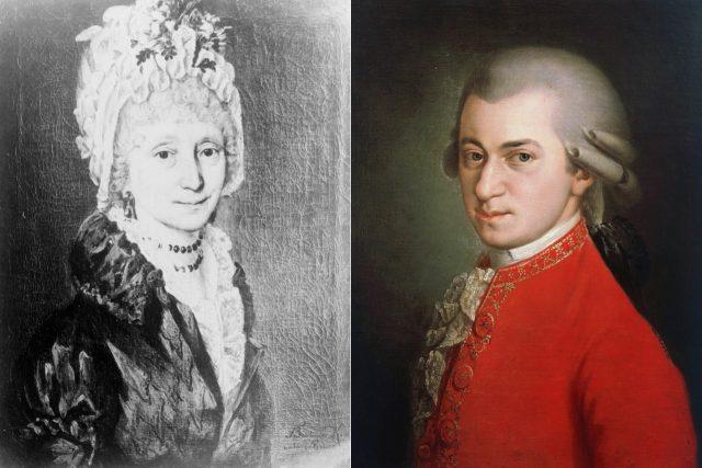 Vlevo autoportrét Barbary Krafftové, vpravo její portrét W. A. Mozarta