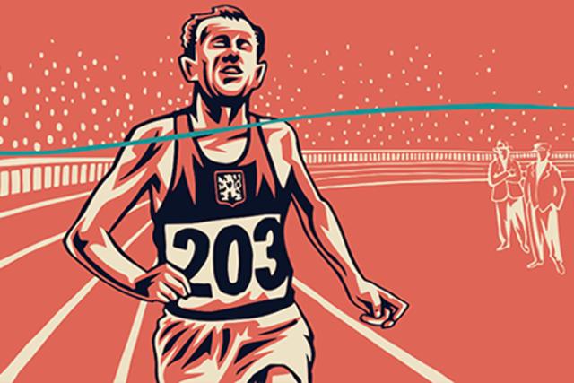 Emil Zátopek na ilustraci Jaromíra 99