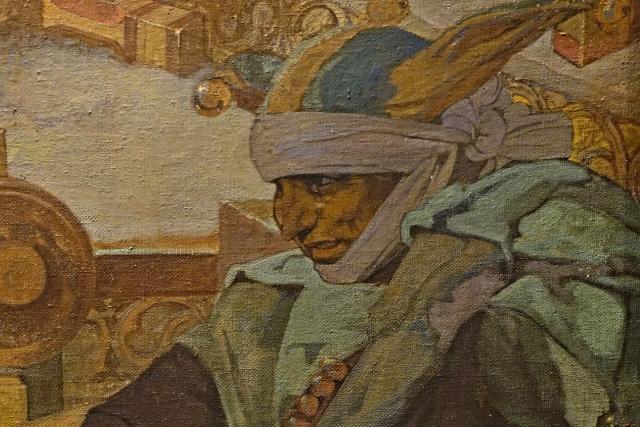 bratr Paleček, dvorní šašek krále Jiřího z Poděbrad na obraze Alfonse Muchy z cyklu Slovanská epopej