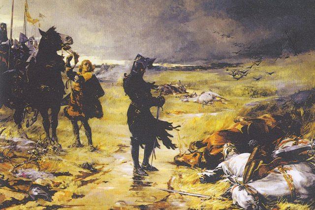 Julian Russel Story: Eduard,  Černý princ z Walesu,  stojí u těla Jana Lucemburského zabitého v bitvě u Kresčaku | foto: Julian Russel Story,  Wikimedia Commons,  CC0 1.0