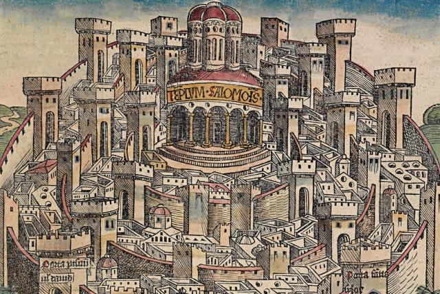 Nejstarší tištěný pohled na Jeruzalém  (Hartmann Schedel,  Nürnberg,  1493)   foto: Wikimedia Commons,  CC0 1.0