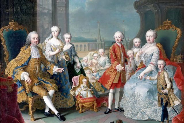 Marie Terezie s rodinou | foto: Martin van Meytens,  Wikimedia Commons,  CC0 1.0