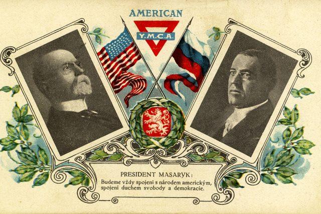 Pohlednice s československým prezidentem Tomášem Garriguem Masarykem a americkým prezidentem Woodrowem Wilsonem